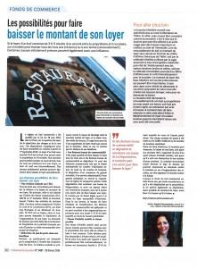 article Sur la baisse des loyers des CHRD publié par la Revue L'Hôtellerie-Restauration des 25 et 26 février 2016